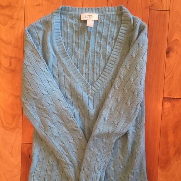 Small, light blue, Ann Taylor Loft, v neck sweater